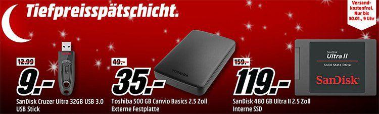 Media Markt Speicher Tiefpreisspätschicht: z.B. Sandisk Ultra II 240GB für 69€ (statt 86€)