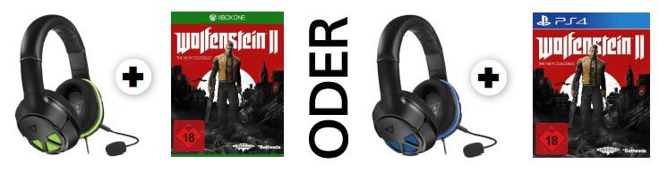 Turtle Beach Ear Force Headset + Wolfenstein 2 für PS4 oder Xbox  One ab je 77€ (statt ~100€)