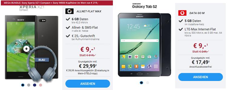 Red Friday Deals bei Sparhandy   z.B. Sony Xperia XZ1 Compact + Sony W800 Kopfhörer für 9€ + Allnet Flat mit 6 GB für 29,99€ mtl.