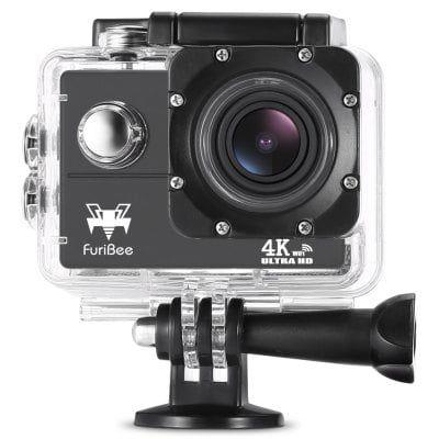 FuriBee F60 4K WiFi   wasserdichte Action Cam inkl. Zubehörpaket für 19,69€
