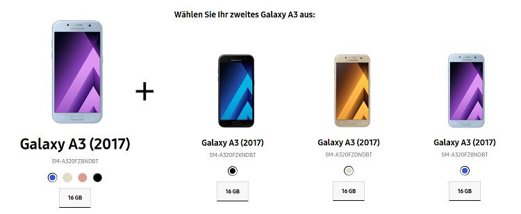 Samsung Galaxy Smartphones im Doppel   bspw. 2 x Galaxy A3 für 299€ oder Galaxy S8 + Galaxy S7 für 799€