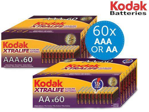 60 STÜCK! Kodak Xtralife Alkaline Batterien in AA oder AAA für je 22,90€ (statt 40€)