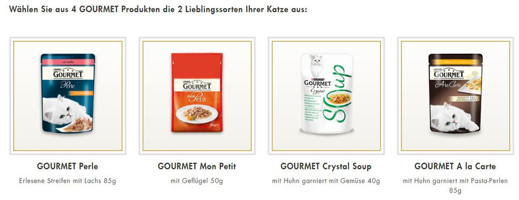 Purina Gourmet Katzenfutter Proben gratis anfordern