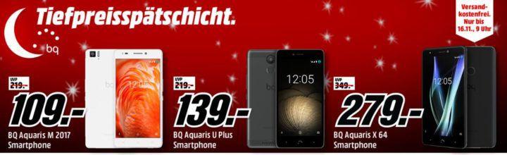 Media Markt BQ Smartphone Tiefpreisspätschicht   z.B. BQ Aquarius X 64  statt 349€ für 279€