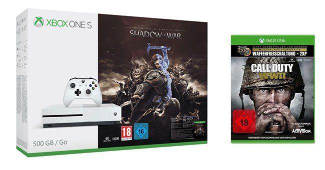 Xbox One S 500GB + Call of Duty: WW II + Mittelerde: Schatten des Krieges ab 229€ (statt 314€)