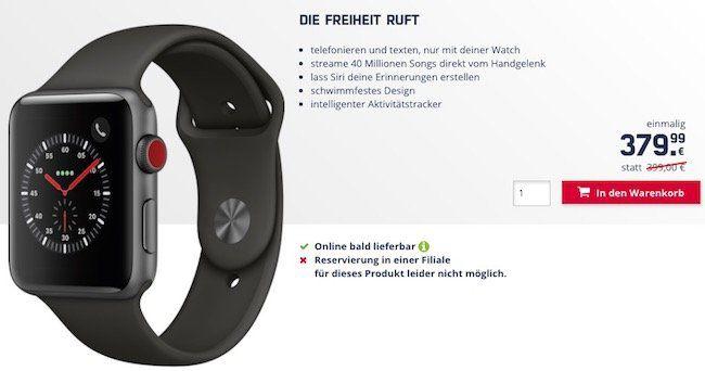 Vorbei! Apple Watch Series 3 42mm mit LTE Modul für 379,99€ (statt 479€)