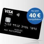 TOP! Beitragsfreie VISA Kreditkarte inklusive 40€ Startguthaben für Neukunden
