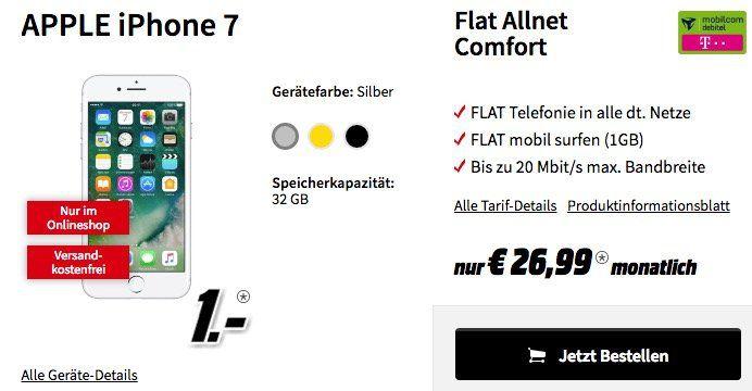 iPhone 7 für 1€ + Telekom Allnet Flat mit 1GB für 26,99€ mtl.