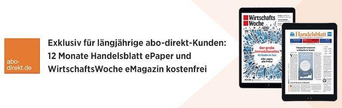12 Monate Handelsblatt ePaper und WirtschaftsWoche als eMagazin kostenlos