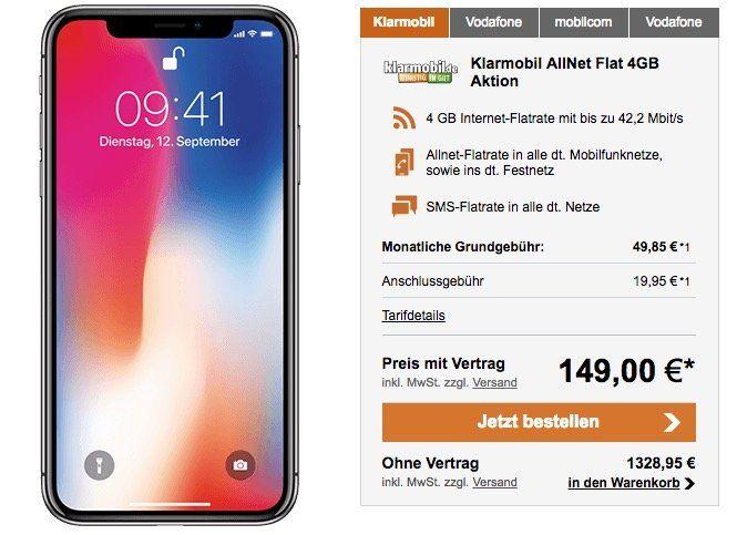 iPhone X 64GB für 149€ + klarmobil Flat mit 4GB für 49,85€ mtl.