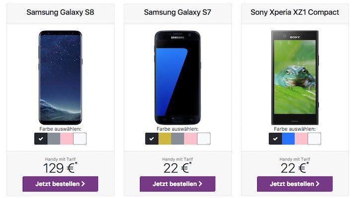 Congstar Tarif im Telekom Netz mit 2GB für 20€ mtl. + Samsung Galaxy S8 für nur 129€