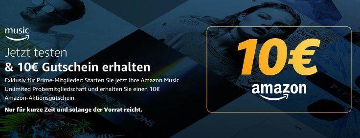 Knaller! Amazon Music Unlimited gratis und 10€ Amazon Gutschein erhalten