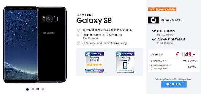 Sankt Spartin Angebote bei Sparhandy   z.B. Vodafone Flat mit 8GB für 29,99€ mtl. + Galaxy S8 nur 49€