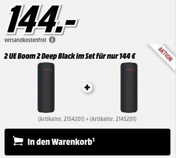 Knaller! 2er Pack Ultimate Ears UE Boom 2 Lautsprecher in Deep Black für 144€ (statt 250€)