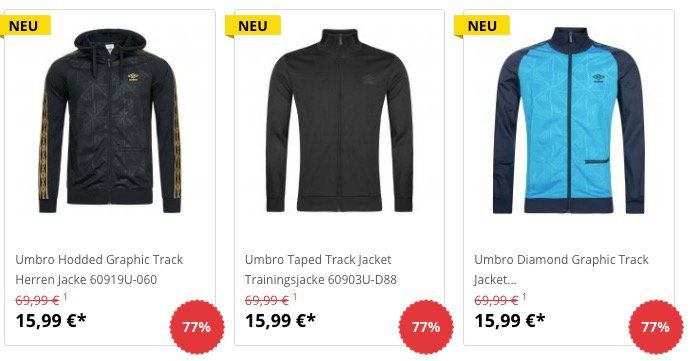 Umbro Jacken für je 15,99€ + 5€ Gutschein ab 50€