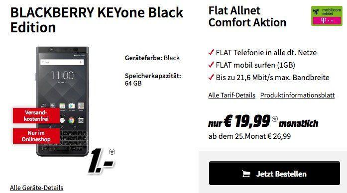 BlackBerry KEYone für 1€ + Telekom Flat mit 1GB für 19,99€ mtl.