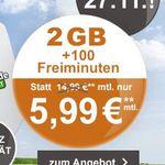 Vodafone Smart Flat mit 100 Frei-Minuten und 2GB Datenvolumen für 5,99€ mtl.