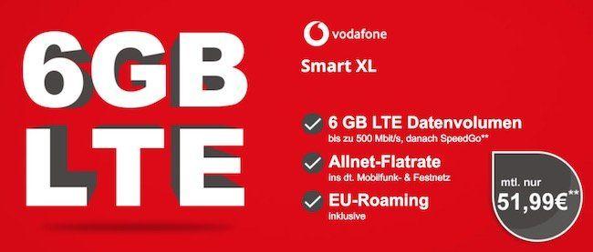 Vodafone Smart XL mit 6GB LTE statt 4GB für 51,99€ mtl. + TOP Smartphone (iPhone X uvm.)