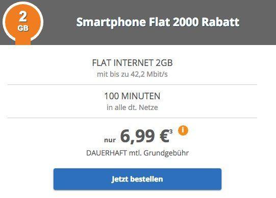 Vodafone: 100 Minuten + 2GB Daten für 6,99€ mtl. + 50€ bei Rufnummermitnahme