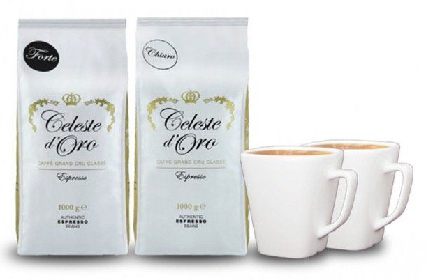 2kg Celeste dOro Kaffeebohnen für 25,94€ +  2 Design Tassen gratis