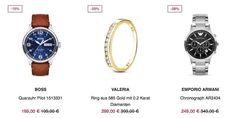Valmano Sale mit 15€ Gutschein auf Schmuck und Uhren (ab 80€)   z.B. BOSS Quarzuhr Pilot für 154€ (statt 169€)