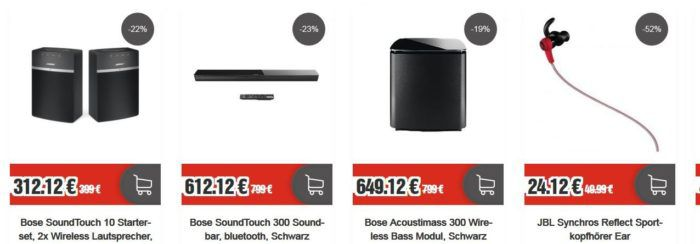 TOP12 Black Sale: z.B. Bose SoundTouch 10 Starterset nur 312,12€