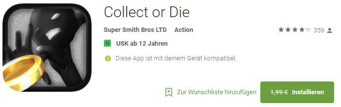 Collect or Die (Android) gratis statt 1,99€