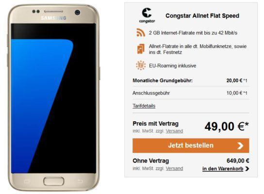 Samsung Galaxy S7  + Congstar AllNet + 2 GB bis zu 42 Mbit/s für 22,46€ mtl.