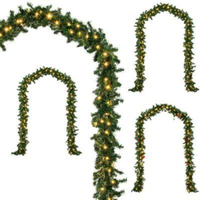 Deuba Weihnachtsgirlande 5m   100 o. 80 LEDS mit 14cm Zweigen für je 19,95€