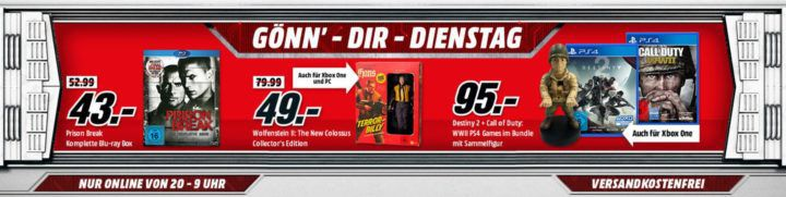 Xbox   PS4 Bundle: Call of Duty WWII + Xbox Destiny 2 inkl. Call of Duty Cable Guy für 95€ uvm. im Media Markt Dienstag Sale