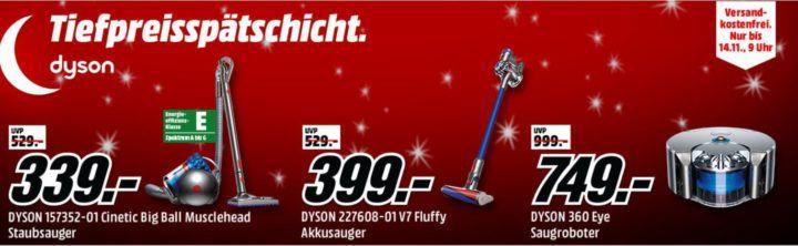 Media Markt Dyson Tiefpreisspätschicht: z.B. DYSON 360 Eye Staubsaugerroboter statt 1.004€ für 749€