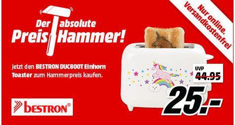 MM Preishammer: Bestron Duc800T Einhorn Schlitztoaster statt 35€ für 25€