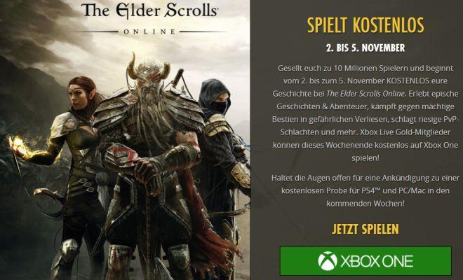 The Elder Scrolls Online: Tamriel Unlimited (Xbox One) gratis spielbar vom 2. bis 5. November
