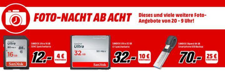 Media Markt Foto Late Night: z.B. SANDISK iXpand 64 GB statt 54€ für 45€