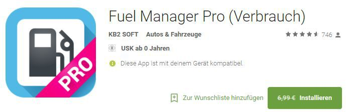 Fuel Manager Pro (Android) gratis statt 6,99€