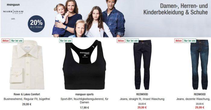 GALERIA Kaufhof: 20% Rabatt ab dem Kauf von 2 Artikeln Damen, Herren u. Kinder Bekleidung & Schuhen