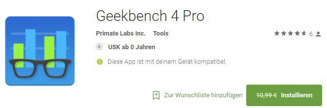 Geekbench 4 Pro (Android) gratis statt 10,99€