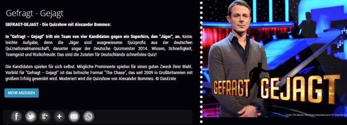 "Freikarten für ""Gefragt   Gejagt"" im November/Dezember"
