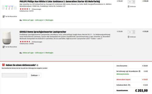 Knaller! Google Home Lautsprecher + Philips Hue E27 Starter Set + Dimmschalter für nur 199€ (statt 288€)