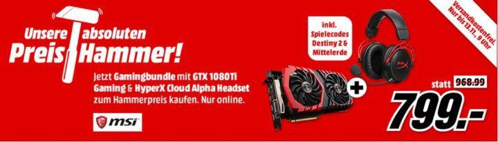 MSI GTX1080Ti Grafik Karte + HYPERX Gaming Headset inkl. Spielecodes für Destiny 2 + Mittelerde für 799€