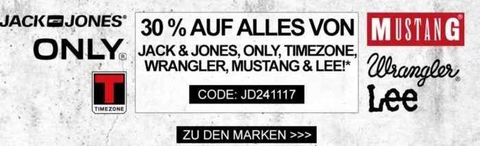 Wrangler, Mustang, ONLY, Timezone, Lee und Jack & Jones Fashion heute mit 30% Rabatt bis Mitternacht