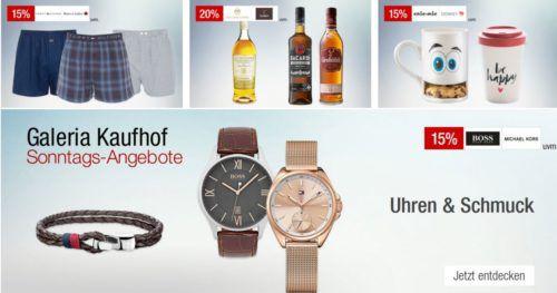 Galeria Kaufhof Sonntagsangebote   z.B. 20% Rabatt auf Whisky, Rum & Tequila, Schuhe, Taschen, Nerf uvam.