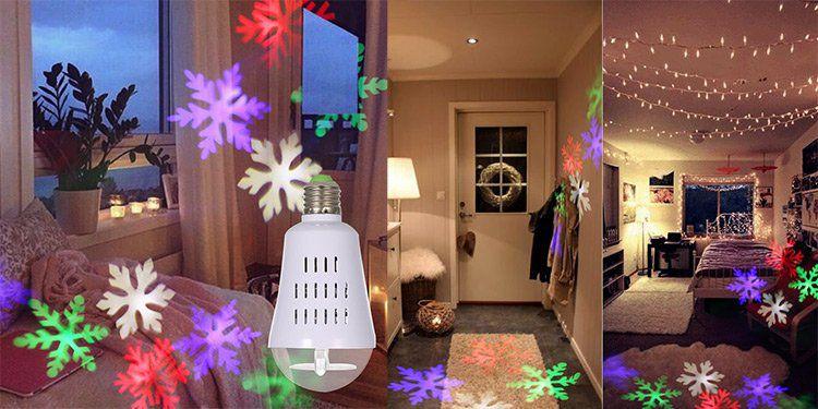 Mini LED Projektor Schneeflocken in Form einer Glühbirne für 6,01€