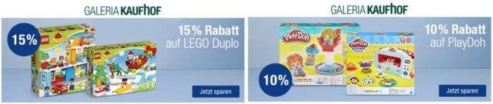 Galeria Kaufhof Rabatte: 20€ extra ab 150€   15% auf LEGO Duplo   10% auf Play DOH und mehr