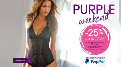 Lascana Purple Weekend mit 25% Rabatt auf Wäsche & Dessous bei PayPal Zahlung