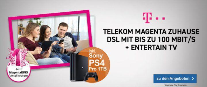 Telekom Magenta Zuhause M mit 50 Mbit/s für 33,15€mtl. + PS4 Pro 1 TB gratis