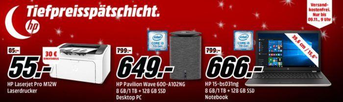 Media Markt HP Tiefpreisspätschicht   günstige Notebooks, PCs und Drucker