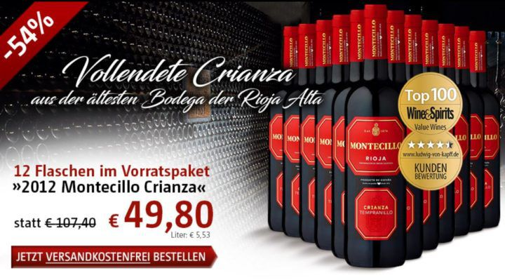 Montecillo Crianza   12 Flaschen spanischer Rotwein für nur 49,80€