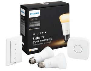 Philips Hue White Ambiance Starter Set (2x E27 Lampen, Dimmer, inkl. Bridge) für nur 79€ (statt 100€)