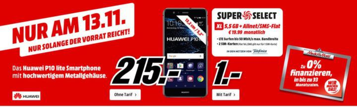 Huawei P10 light für 215€ oder mit O2 AllNet + SMS Flat + 5,5 GB Daten für 19,99€ mtl.